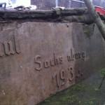 Denkmal während der Reinigung