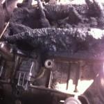 Verbrennungsrückstände vor der Trockeneisreinigung