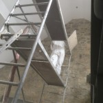 Trockeneisreinigung an einer Bruchsteinwand 2